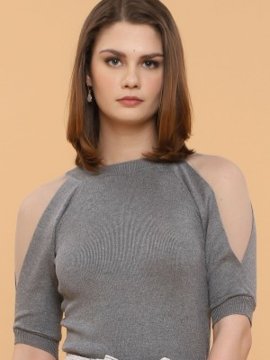 High Neck Long Sleeves Knitted Top