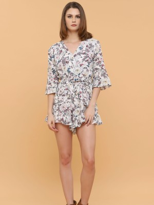 Flower Printed Waist Tie Jumpsuit