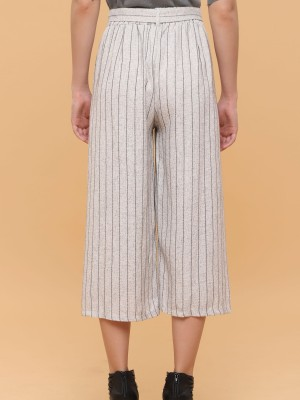 Textured Stripes Waist Tie  Cullotes