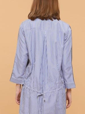 Two Tones Stripes Long Sleeves Dress