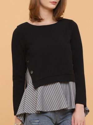 Two Tones Asymetric Stripes Long Sleeves Dress