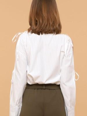 Stripes Sleeves Bow Shirt