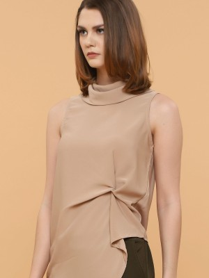 Pinched Front High Neck Sleeveless Top