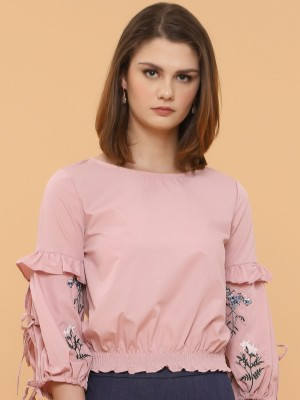 Flower Embroidery Trumpet Sleeves Top
