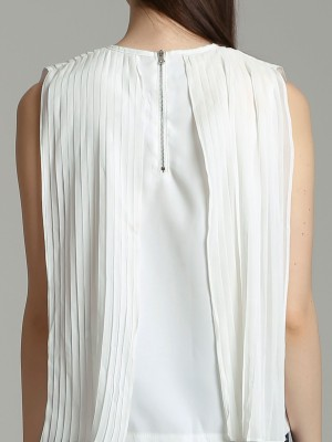 Doubled Pleated Sleveless Top