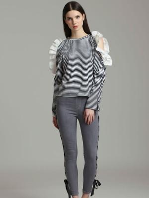 Ruffle Hole Sleeves Stripes Long Sleeves Top