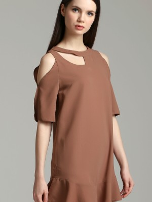 Peep Neck Shoulder Dress