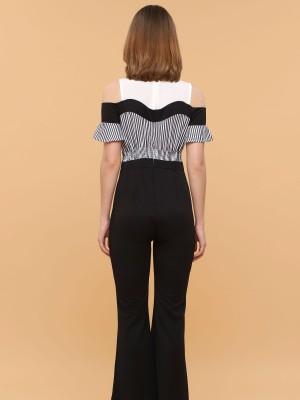 Two Tones Stripes Drop Sleeves Jumpsuit
