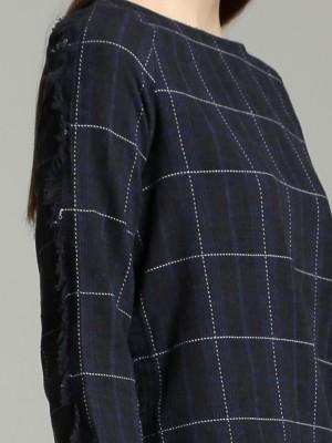 Fringe Long Sleeves Plaid Top