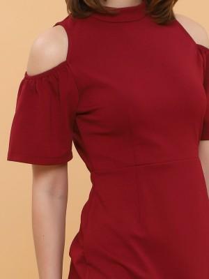Drop Shoulder High Neck Short Sleeves Dress