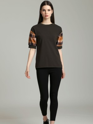 Checkered Sleeves Top