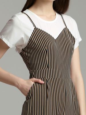 Stripes Short Sleeves jumpsuit
