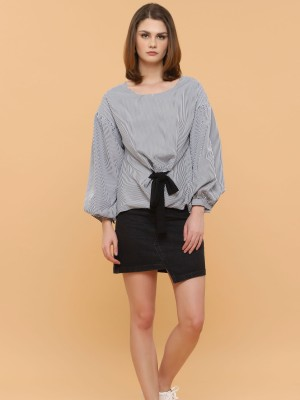 Front Tie Stripes puffy long Sleeves Top