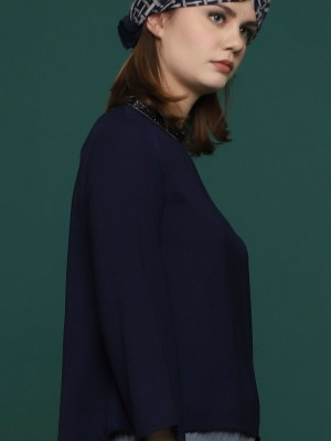High Neck Beads Long Sleeves Top