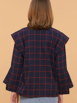 Checkered Winged Long Sleeves Shirt