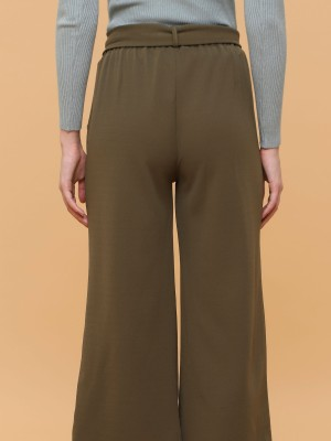 Waist Tie Straight Cut Pants