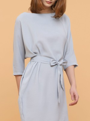 Loose Shift Dress With Waist Tie