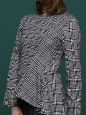 Side Ruffle long Sleeves Checkered Top