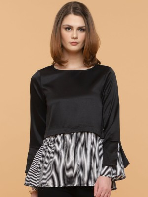 Two Tones Doubled Long Sleeves Stripes Top