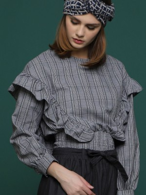 Elastic Belly Long Sleeves Side Ruffle Checkered Top