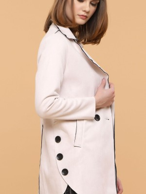 Double Breasted Faux Suede Long Coat