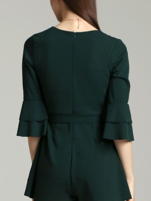 Layered Long Sleeves V-Neck Playsuit