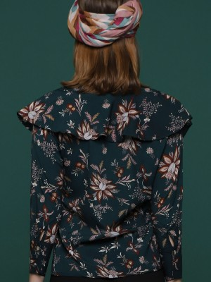 Ruffle Floral Long Sleeves Top