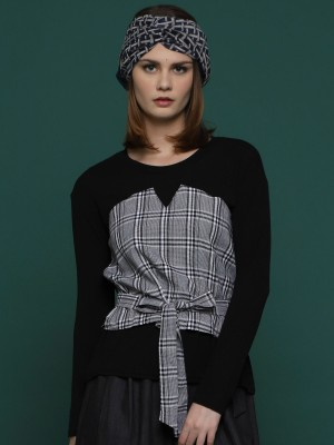 Two Tones Checkered Long Sleeves Top with Waist-Tie