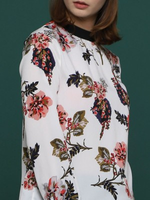 Flower Printed Long Sleeves Tie High Neck Top