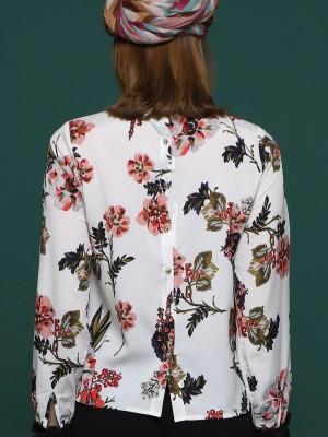 Flower Printed Long Sleeves Tie High Neck Top