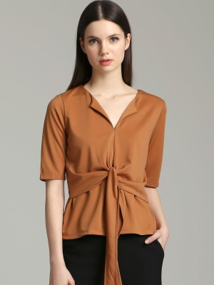 Front Knot Short Sleeves Top
