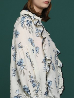 Floral High Neck Laced Lining Long Sleeves Top
