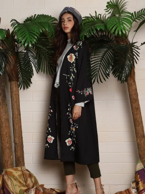 Flower Printed Open Long Cardigan