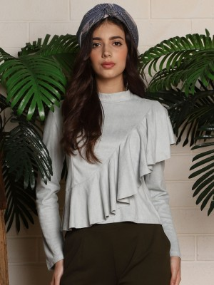 Asymetric Ruffle Long Sleeves Top