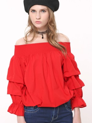 Runched Sleeves Off Shoulder Top
