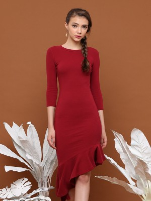 Asymetric Ruffle Long Sleeves Dress