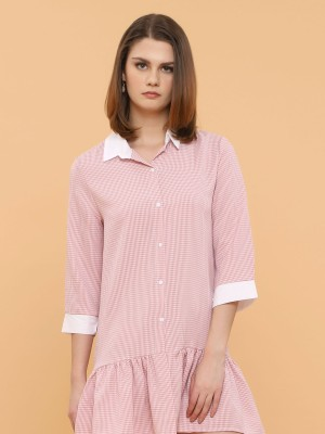 Small Gingham Long Sleeves Ruffle Shirt Dress