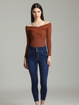 Wave High Waist Slim Cut Denim
