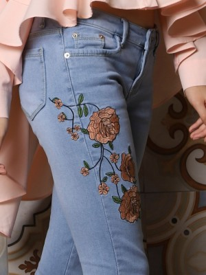 Vintage Flower Slim Cut Denim