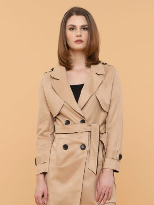 Double Breasted Waist Tie Long Coat