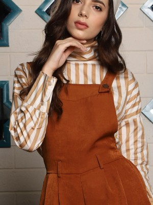 Foldable High Neck Long Sleeve Stripes Top