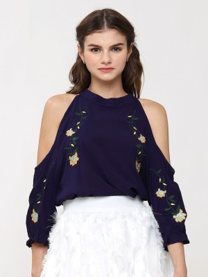 Drop Shoulder Flower Embroidery Top