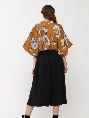 Printed Cropped Kimono Top