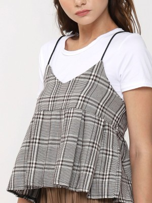 2 Pieces Checkered Cami Top