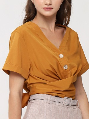 Button Up Tied Crop Top