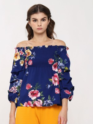 Flower Printes Long Sleeves Smock Top
