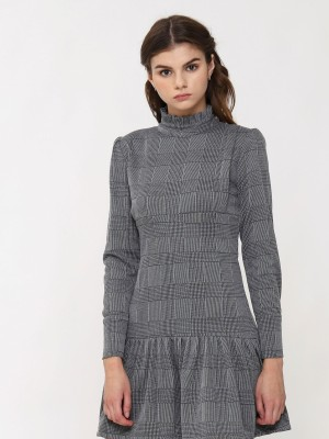 High Neck Victorian Checkered Long Sleevess Dress