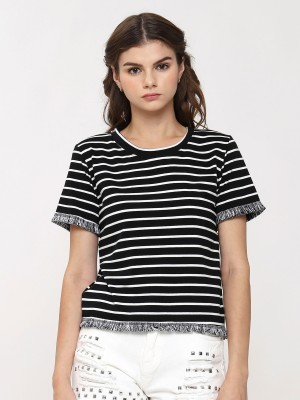 Fringe Stripes Crop Tee