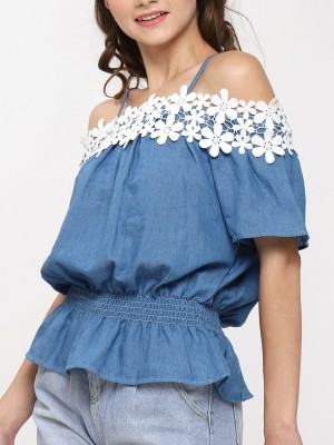 Flower Crochet Off Shoulder Top