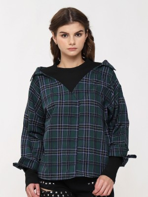 High Neck Wide Collar Long Sleeve Checkered Top